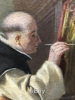 Tableau Peinture Cadre 19è XIXè Gide (1822-1890) Scène de genre Religion Ancien