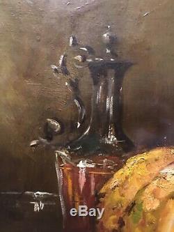Tableau Peinture Cadre 19è XIXè Gilli Nature morte Réalism Bois doré Rare ancien
