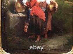 Tableau Peinture Cadre 19è XIXè R. De l'Espéronnière Scène genre rare ancien 2/2