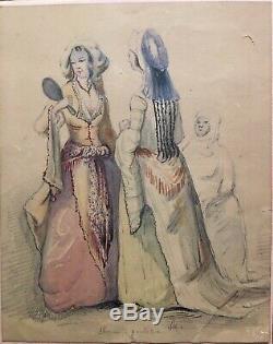 Tableau Peinture Cadre 19ème XIXème Att. À Constantin Guys Elégantes Rare ancien
