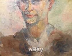 Tableau Peinture Cadre 20è XXè att. Rozier Portrait d'homme Réalisme Rare Ancien