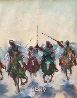 Tableau Peinture Cadre 20èm XXèm Denis Cheilan Fantasia Orientaliste Rare ancien