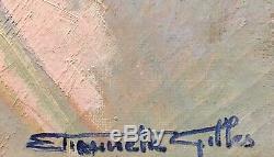 Tableau Peinture Cadre 20èm XXèm Etiennette Gilles portrait Réalisme Rare ancien