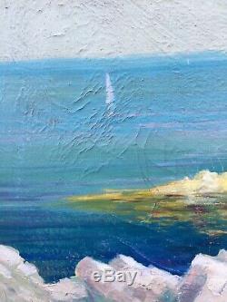 Tableau Peinture Cadre bois doré 20èm XXèm H. Rampal Marine Réalisme Rare ancien