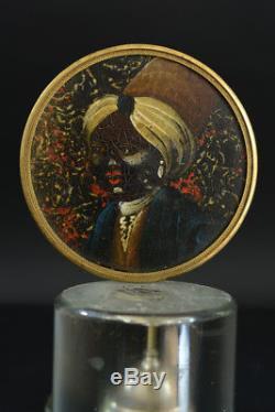 Tableau Peinture Miniature Ancienne portrait d'Indien sur carton couvercle boite