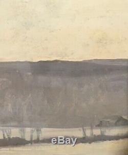 Tableau Peinture début 20èm XXèm R. Rochette gouache Paysage Réalisme Rare ancien
