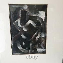 Tableau Peinture moderne Robert Marc Cubiste Abstrait Cubisme noir blanc ancien