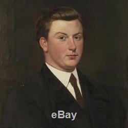 Tableau Peinture portrait huile sur toile style ancien néerlandais homme cadre