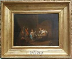 Tableau Scène de taverne Ecole hollandaise 18e peinture ancienne