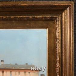Tableau Venise peinture huile sur toile avec cadre signé style ancien 900