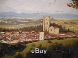 Tableau ancien 19 XIX peinture ville italienne Italie Florence Italia firenze