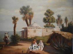 Tableau ancien 19 siècle oriental peinture orientaliste Bouzareah Alger Algérie