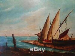 Tableau ancien 19 siècle peintre lyonnais E BERARD peinture marine orientaliste