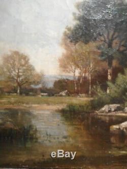 Tableau ancien 19 siècle peinture école barbizon paysage campagne bord rivière