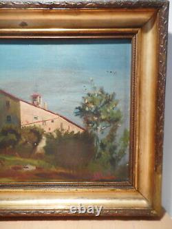 Tableau ancien 19 siècle peinture paysage campagne ferme BOADA