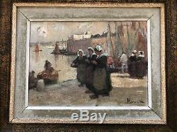 Tableau ancien Alfred MARZIN marine Bretagne peinture paysage animé breton huile