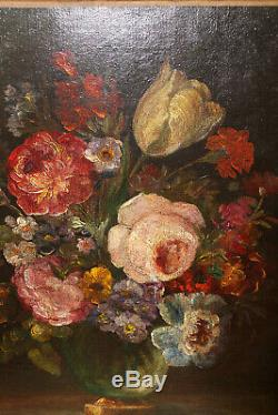 Tableau ancien Bouquet de Fleurs, peinture à l'huile
