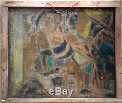 Tableau ancien CUBISTE mouvance Emil FILLA Portraits juxtaposés Gouache / Toile