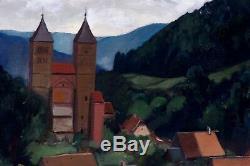Tableau ancien Christian Ehlinger Alsace Le village