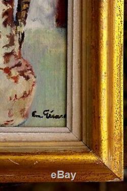 Tableau ancien Emile Gérard vase de fleurs