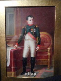 Tableau ancien Empereur NAPOLEON 1er BONAPARTE peinture miniature XIX 19 siècle