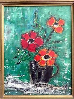 Tableau ancien Fleurs au Pichet Noir Nicolas de STAËL Huile / Carton SENNELIER