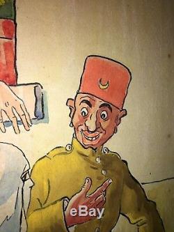 Tableau ancien Gouache Debut 20ème Illustrateur Humour Afrique Du Nord Signé