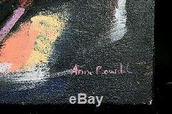 Tableau ancien HST dame en terrasse en fin de l'été signé Anne Bourdel Fauve XXe
