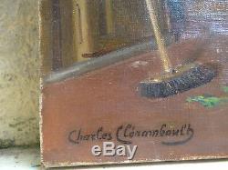 Tableau ancien HST, scène d'intérieur de cuisine, Charles CLERAMBAULT(1885-)