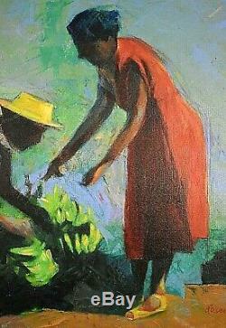 Tableau ancien Huile scène de marché animée Réunion Guadeloupe Martinique XXe