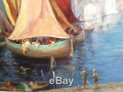 Tableau ancien Impressionniste de EGLENE SURIEUX Marine Rive du BOSPHORE Huile