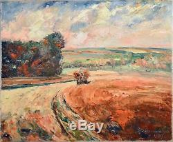 Tableau ancien, Jacques Alexander 1905-1965. La moisson. Artiste Belge