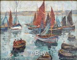 Tableau ancien, Marcel Parturier 1901-1975. Chalutier en Bretagne