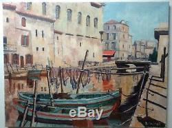 Tableau ancien Marine Martigues Provence Post-impressionniste Huile toile signée