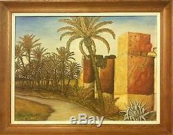 Tableau ancien Maroc peinture ancienne milieux XXe Marrakech -Les remparts