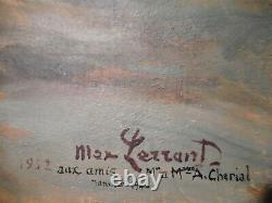 Tableau ancien Max LERRANT peinture coucher soleil montagne troupeau vache