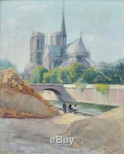 Tableau ancien, Notre-Dame de Paris vers 1930