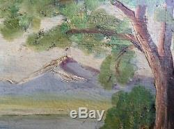 Tableau ancien Paysage Montagne Lac d'Annecy Huile goût Victor Charreton