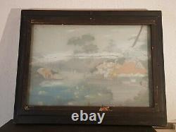 Tableau ancien. Paysage. Peinture sur verre