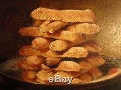 Tableau ancien Peinture Huile e morte Biscuits daté 1882