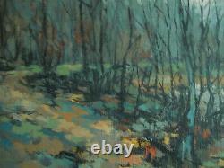 Tableau ancien Peinture. L Etang en Hiver. Paysage Sologne René Ehret