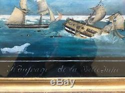 Tableau ancien, Peinture à l'Huile, Ex voto Naufrage de la Belle Julie, Encadré