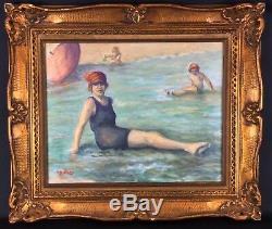 Tableau ancien Peinture huile encadré doré thème baignade vers 1930 art déco