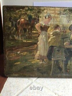 Tableau ancien Peinture huile sur toile représentant une scène de taverne