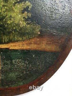 Tableau ancien, Peinture sur palette, Huile sur panneau, Scène de charité, XIXe