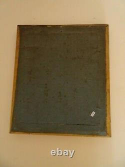 Tableau ancien. Peinture sur porcelaine. Les couronnes de bleuets. Delphine Niam