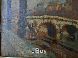 Tableau ancien Pont Neuf Paris école Belge Louis DEWIS 1872-1946 Impressionnisme
