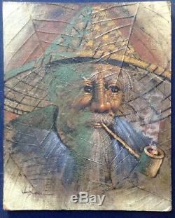 Tableau ancien Portrait d'Homme Vietnamien fumant la pipe Huile signée
