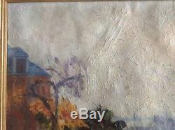 Tableau ancien Postimpressionniste Magdeleine HUE Marine Bateau Port Rouen Huile