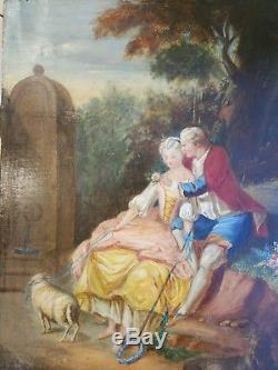 Tableau ancien Scène de genre peinture romantique XIX ème